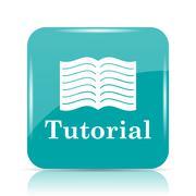 Tutorial icon. Internet button on white background.. Stock Illustration