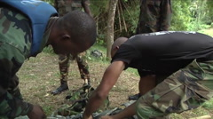 U.S. Army and National Guard troops train Jamaicans in basic jungle survival Stock Footage