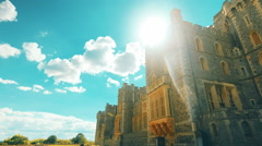 Ultra Wide Angle Sweeping Shot of the Royal Windsor Castle and Gardens in the UK Stock Footage