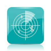 Radar searching money icon. Internet button on white background.. Stock Illustration