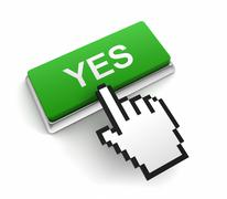 Yes button concept  3d illustration Stock Illustration