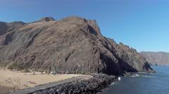 La Teresitas Beach in Santa Cruz de Tenerife, aerial view of Canary Islands, Stock Footage