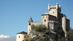 Saint Pierre, Aosta valley, Italy. View of medieval Castle of Saint Pierre Stock Footage