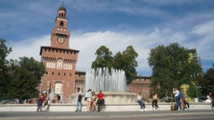 Crowds of tourists in front of the Sforza Castle Stock Footage