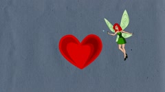 Cartoon. Flying fairy makes the heart, pixie, Luma Matte Stock Footage