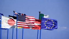 Flags redux mix JAP USA EU Stock Footage