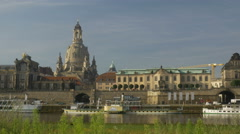 Dresden skyline from the opposite side of the Elbe Stock Footage