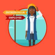 Confused woman choosing career pathway Stock Illustration