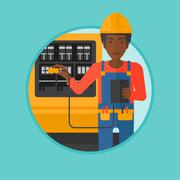 Electrician with electrical equipment Stock Illustration