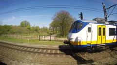 Train Running on Rails Stock Footage