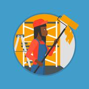 Painter with paint roller vector illustration Stock Illustration