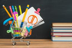 What education supplies you need to buy for back to school Stock Photos