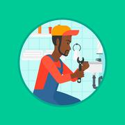 Plumber fixing sink pipe with wrench Stock Illustration