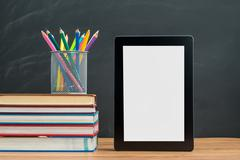 You need to bring watercolor pencil and Digital Tablet for back to school Stock Photos