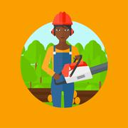 Woodcutter with chainsaw vector illustration Stock Illustration
