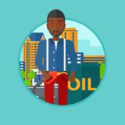 Man with oil barrel and gas pump nozzle Stock Illustration
