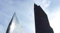Locked down medium shot of Potsdamer platz skyscrapers, Berlin city. Stock Footage