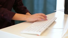 Muslim Woman Typing On The Keyboard Stock Footage