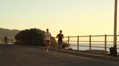 Jogging at the sunset Stock Footage