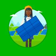 Woman holding solar panel vector illustration Piirros