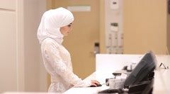 Beautiful Muslim Girl In Reception Hotel Stock Footage