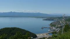 Petropavlosk Kamchatka,harbor view high angle Stock Footage