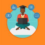Graduate sitting on cloud vector illustration Stock Illustration