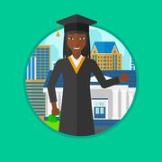 Graduate giving thumb up vector illustration Piirros