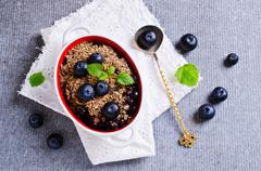 Crumble with blueberries Stock Photos