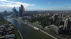 Aerial Moscow City and river Stock Footage
