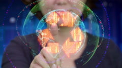 Young Asian female touches futuristic interface to activate recycle icon Stock Footage