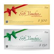 Elegant gift card or gift voucher template with shiny red and green bows and  Stock Illustration