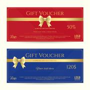 Elegant gift card or gift voucher template with shiny gold bows and ribbons v Stock Illustration