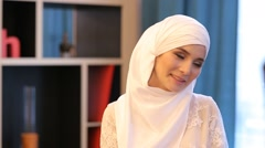 Young Muslim Girl Smiling At The Camera Stock Footage