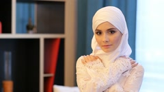 Young Muslim Girl Looking At The Camera Stock Footage