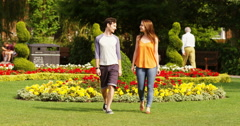 4k, young couple going for a romantic walk together. Slow motion. Stock Footage