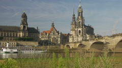 Katholische Hofkirche and Augustusbrucke Stock Footage
