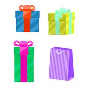 Set of gift boxes and paper bag vector Stock Illustration