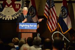 Former President Bill Clinton Speaks to Hillary Supporters Stock Photos