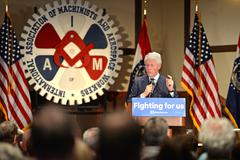 Former President Bill Clinton Speaks at Hillary Rally Stock Photos