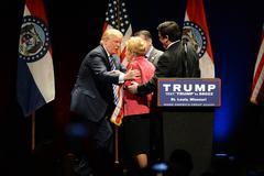 Donald Trump Greets Phyllis Schlafly Stock Photos