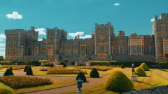 Wide Angle Slow Panoramic View of the Windsor Castle and Gardens in Berkshire Stock Footage