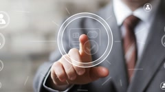 Businessman hand press button credit card web network sign Stock Footage