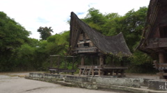 Traditional batak village on Sumatra, Indonesia Stock Footage