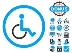 Disabled Person Flat Vector Icon with Bonus Stock Illustration