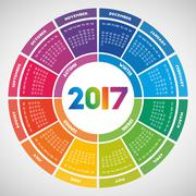 Colorful round calendar 2017 Stock Illustration