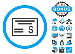 Dollar Cheque Flat Vector Icon with Bonus Stock Illustration