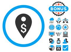 Dollar Map Marker Flat Vector Icon with Bonus Stock Illustration
