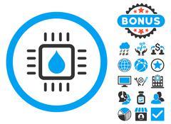 Drop Analysis Chip Flat Vector Icon with Bonus Stock Illustration