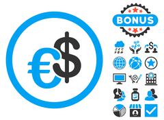 Euro and Dollar Currency Flat Vector Icon with Bonus Stock Illustration